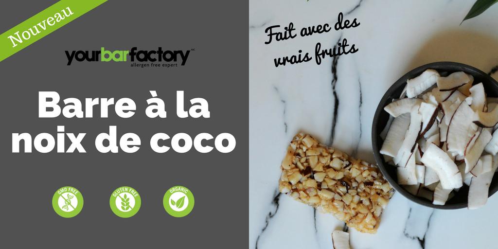 Production barre biologique noix de coco